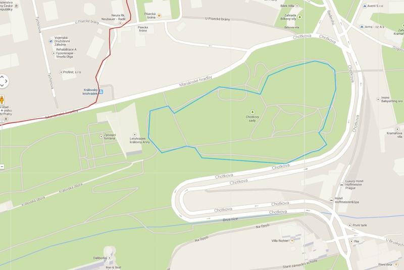 690m běžecký okruh – Intervaly v Chotkových sadech