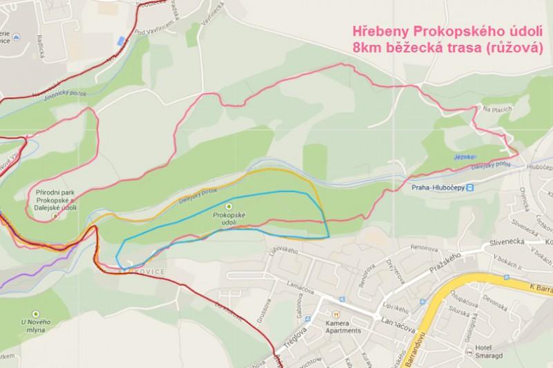 8km běžecká trasa: Hřebeny Prokopského údolí