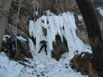 Zimní lezení v barrandovském lomu