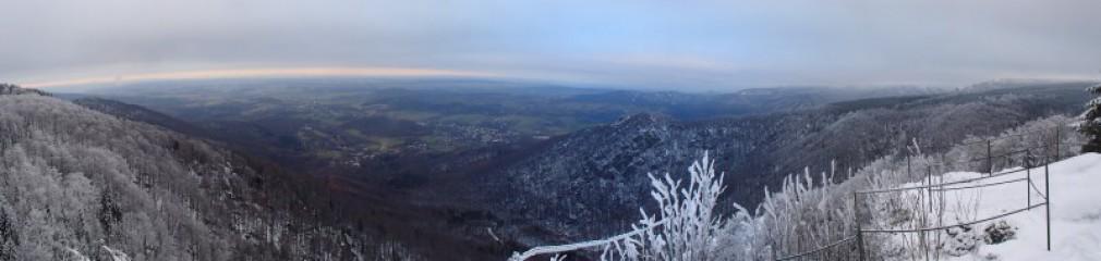 První letošní lyžování - vyhlídka Krásná Máří
