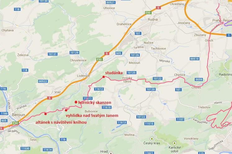 29km běžecká trasa: Ze Stodůlek do Berouna na výhledy a kolem hornického skanzenu