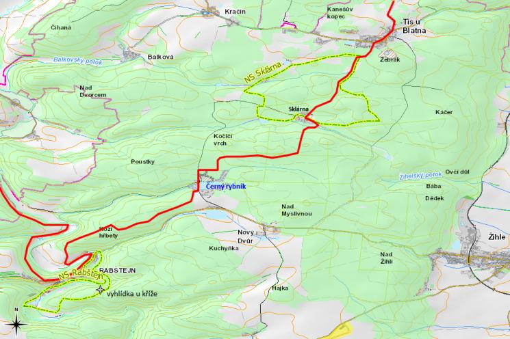 Mapka běžeckého trailu