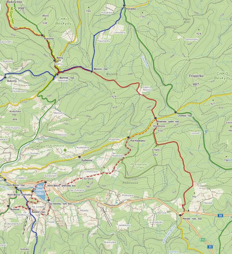 Postup na 5. vrchol – 1. část: Kudy na Bukoviny na Hlavatou<br>(Ze severu na jih)? Po červené po hřebeni nebo dolů po zelené<br>a po asfaltu?