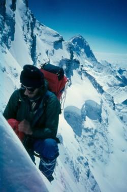 1984  Lhotse Shar, M. Šmíd, v pozadí Makalu, Z stěna, foto P. Božík