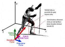 Rozklad sil působících na běžce na lyžích při bruslení ve 3D (Smith G. A., 2002)