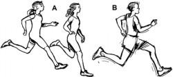 Došlap při běhu: A – na přední část chodidla, B – došlap na patu<br>Kreslil: Broňa Kračmar