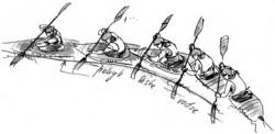 Vedení listu vodou směrem ke špičce po zasazení listu pádla u boku<br>Kreslil: Broňa Kračmar