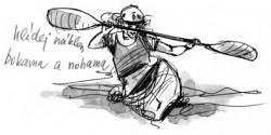 Náklon kolena boky, ramena přibližně kolmo na podélnou osu lodi<br>Kreslil Broňa Kračmar